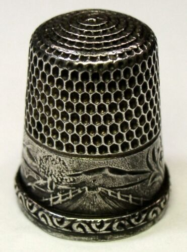 "Antique Simons Bros Sterling Silver Thimble  ""Landscape"" Country Scene  C1900s"
