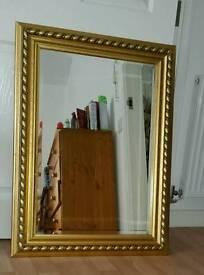 Gold wooden mirror