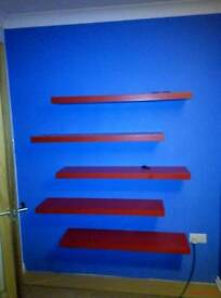 5 x ikea Red floating shelves 110cm x 26cm