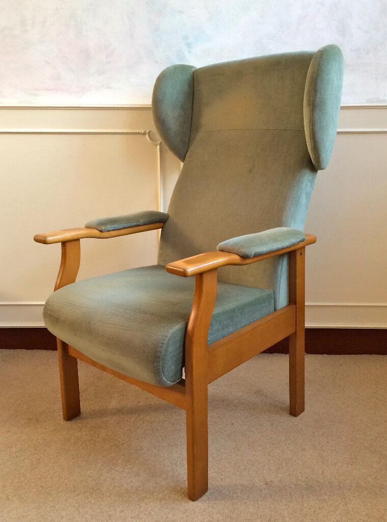 Vintage Retro Green Velvet Beech Hardwood Wing Back Fireside Armchair Seat