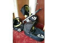oyster pushchair, car seat and carry cot