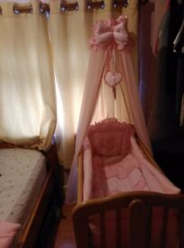 Princess swinging crib and bedding