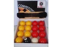 New Red & Yellow Pool Balls & Brush