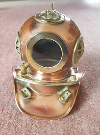 Antique / Vintage Copper and Brass Model Deep Sea Diving Helmet