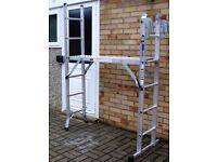 STURDY ABRU 5 WAY USE METAL LADDER WITH PLATFORM HARDLY USED, CAN DELIVER