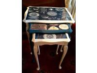 Sale:-upcycled Nest of 3 tables only £35