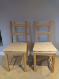 2 solid wood dining chairs (pine colour)
