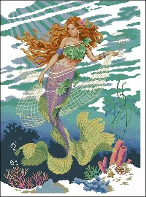 MERMAID UNDER THE SEA CROSS STITCH PATTERN.NOT FINISHED ITEM!!!](Under The Sea Items)