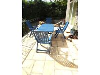 Extending Wooden Garden table and chairs
