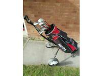 Full set of men's right handed golf clubs, trolley etc