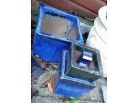 Three Blue Plant Pots - Stackable