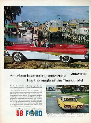 1958 FORD CONVERTIBLE T-BIRD MUSCLE CAR RED THUNDERBIRD AD! AUTOMOBILE AUTO ART!