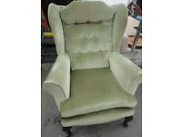 USED COMFY CONDITION, A NICE GREEN MATERIAL HIGH BACK ARMCHAIR,