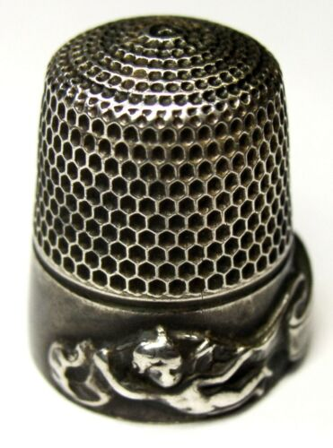"Antique Goldsmith Stern & Co. Sterling Silver Thimble  ""Cupid & Banners""  C1910s"