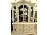 Stunning Cream Shabby Chic Mirrored Dresser Cabinet