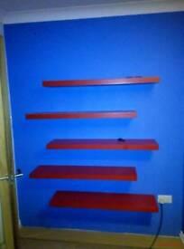 Ikea floating shelf shelves red 110cm wide