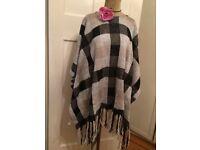 Women's blanket style poncho shawl