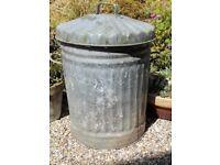 Vintage galvanised dustbin/planter