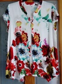 Red Floral cotton summer tunic / blouse