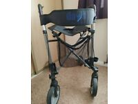 Rollator - Lightweight Foldable Walker Silver Grey with Brakes, Seat and Shopper Bag