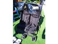 Maclaren Twin Techno Double Buggy Stroller Black with all accessories Excellent Condition
