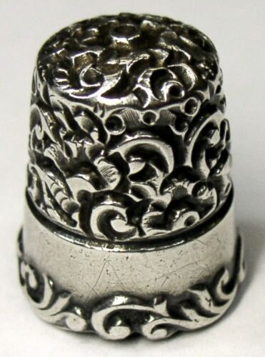 """Antique Ketcham & McDougall Child Sterling Silver Thimble  """"Embroidery""""  C1890s"""