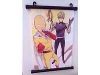 Anime manga wall scroll with hooks to hang it up - Saitama and Genos from One Punch Man 20x30cm