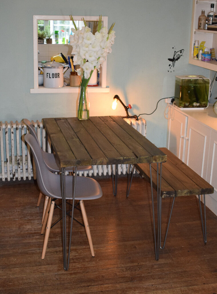 Rustic Industrial Kitchen Table x2 Chairs and Bench hairpin Steel Legs Bespoke