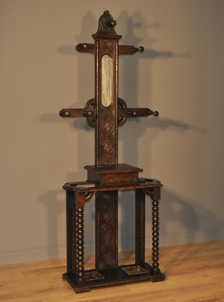 Attractive Antique Victorian Gothic Carved Oak Mirror Back Hall Coat Stick Stand