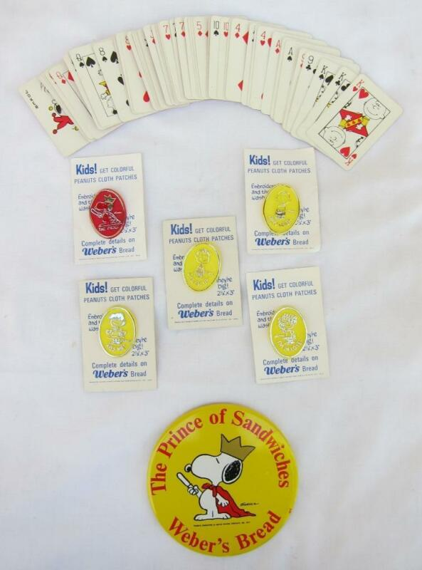 6 1970's Peanuts Weber's Bread Pins + Button + Cards
