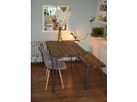 ndustrial Kitchen Table x2 Chairs and Bench Mid Century Style hairpin UK DELIVERY
