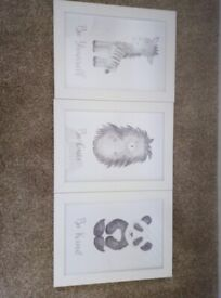 Nursery animal pictures with frames