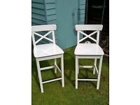 2 x IKEA Ingolf Full size Bar Stools with backrest - White (not children's dining chairs).