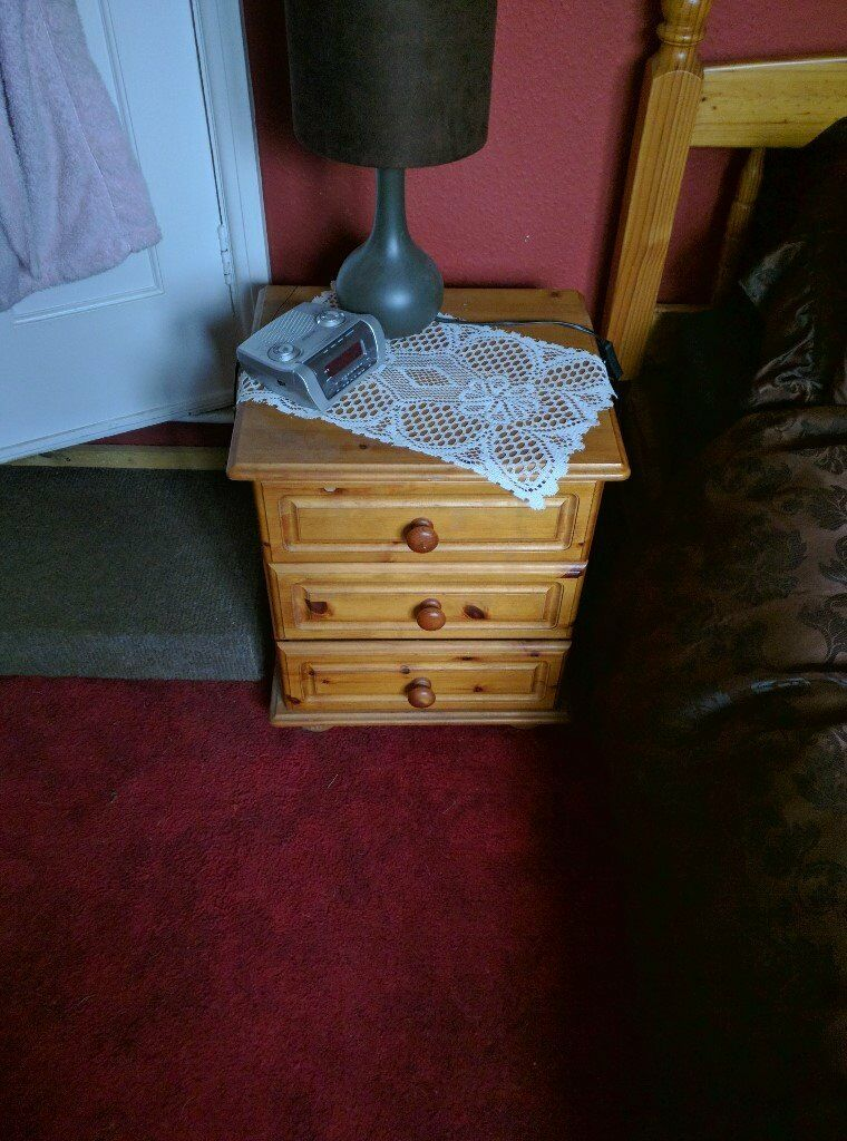 solid pine handmade dovetail bedside tables x2 contact Lesley 01263 731913