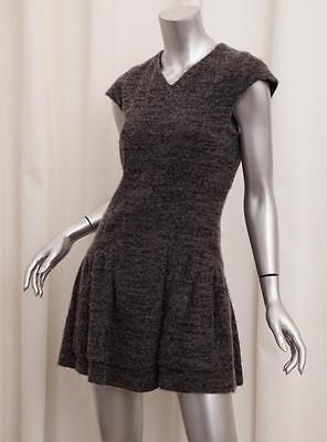 CHANEL Womens Gray Cashmere Wool Cap-Sleeve Drop Waist V-Neck Mini Dress 38/6