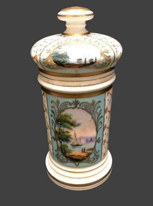 Antique French Sevres Hand Painted Nautical Scenes Large Pharmacy Apothecary Jar
