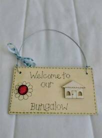 Handmade bungalow home plaque