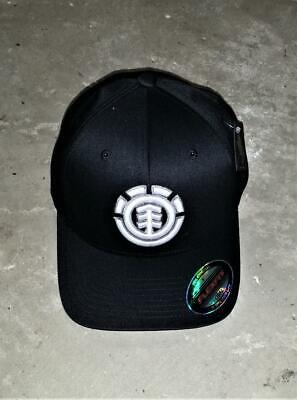 ELEMENT Crowns Skateboards Baseball Cap Hat Black White Emblem NWT Flexfit OSFA