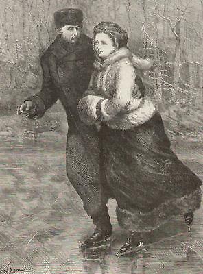 Ice Skating Royalty English Prince Antique Art Print
