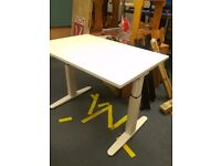 Actui Height adjustable white wood effect office desk 1200mm wide 650 -850 high