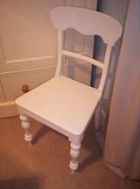 ANTIQUE VICTORIAN, WHITE PAINTED PINE CHAIR, WITH HAND TURNED LEGS,
