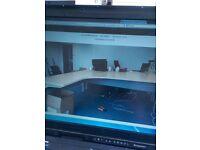Large Maple effect office corner desks Left and right handed office desks 2M