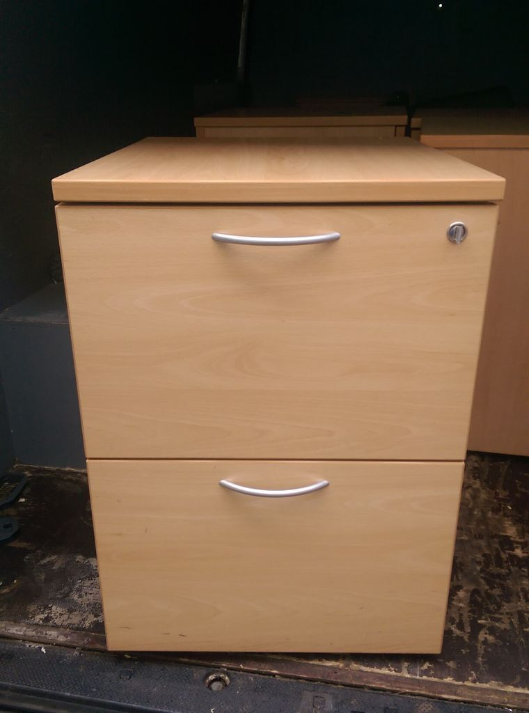 Quality Beech Wood Effect 2 Drawer Filing Cabinet