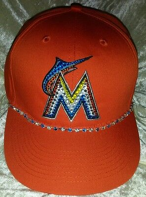 Miami Marlins Womens Rhinestone Bling MLB Baseball Cap Hat ~NEW~