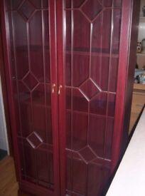 glass front 4 shelf units mahogony colour