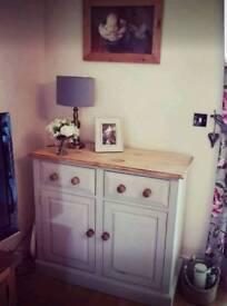 Grey rustic sideboard dresser drawers oak handles and pine top