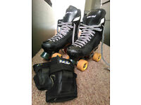 Ventro Pro quad skates (size 39-42) & Bauer wrist guards (medium)
