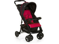 SHOP DISPLAY HAUCK COMFORT FOLD BUGGY PRAM PUSHCHAIR IN UNISEX BLACK RED WITH RAIN COVER FROM BIRTH