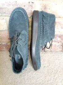 Hotter - Faith Ladies dark blue Teal nubuck fringe ankle boots women UK 7.5