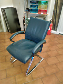 Real Leather Boardroom Chairs - Side Chairs - Blue